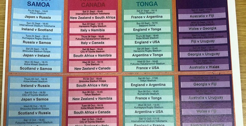 Rugby World Cup Match Schedule
