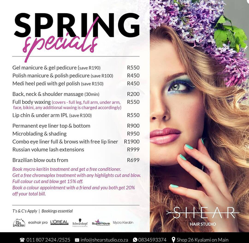 Shear Hair Studio Spring Specials